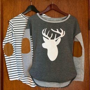 Tops - Lot! 2 Fun Long-Sleeve Shirts: Deer Head & Stripes